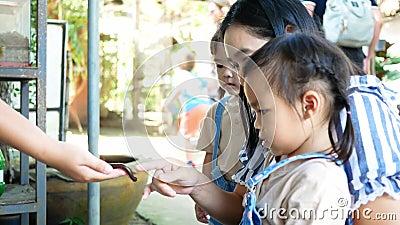 Una bambina asiatica guarda e cerca di prendere una millipede nera nelle mani del personale con curiosità e divertimento video d archivio