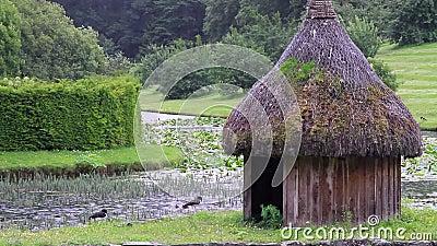 Una cabaña tranquila en el lago en un día lluvioso almacen de video