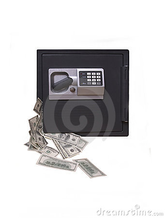 Una caja fuerte del hogar, desbordando con el dinero