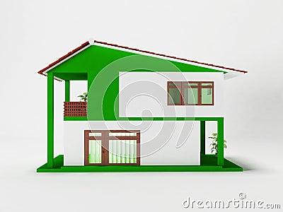 Una casa a due piani semplice illustrazione di stock for Moderni piani di casa eco
