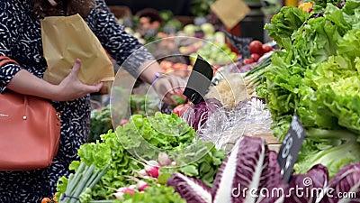 Una clienta femenina selecciona verduras en un puesto de frutas y verduras en el Borough Market, Londres almacen de video