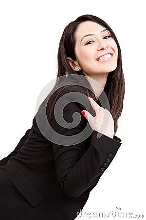 Una donna sveglia allegra felice di affari