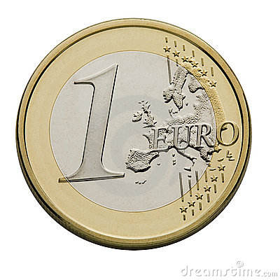 Una euro moneta - valuta di Unione Europea
