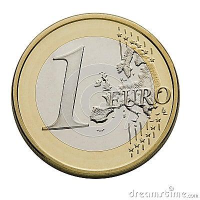 Una euro moneta - valuta di Unione Europea