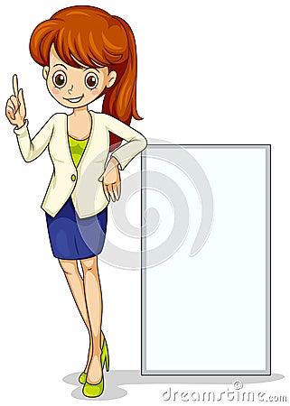 Una giovane icona di affari che sta accanto ad un contrassegno vuoto