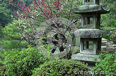 Una linterna de piedra en un jardín japonés en Kyoto, Japón