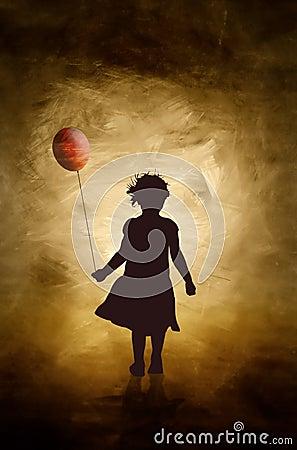 Una muchacha y su globo.