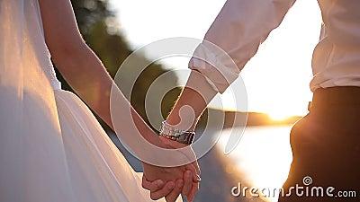Una novia y un novio románticos Couple Holding Hands el día de boda en la puesta del sol metrajes