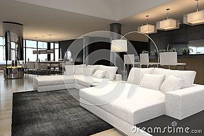 Interno moderno del salone | Sottotetto di disegno