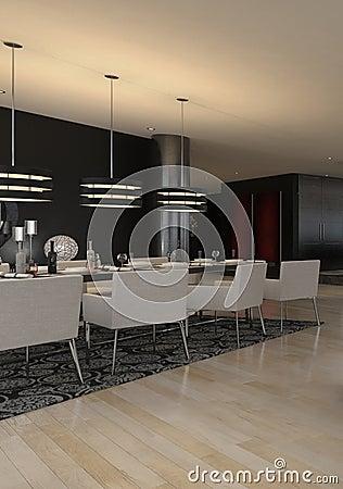 Interior moderno de la sala de estar   Desván del diseño