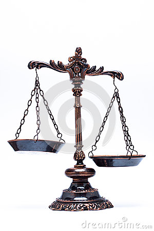 Isolated antique scale of justice (not balanced)