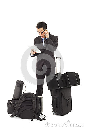 Unbelievable businessman watching on tablet