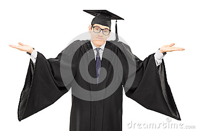 Uncertain student in graduation gown gesturing with hands