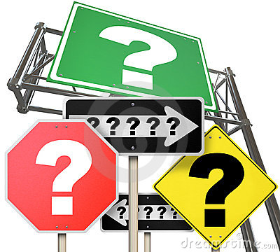 Uncertainty - Question Marks on Many Road Signs