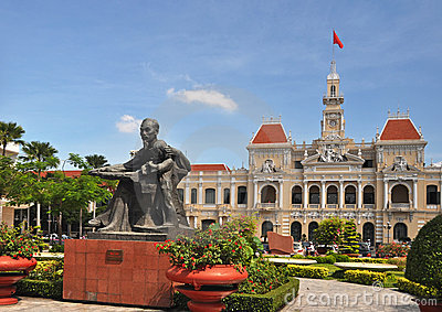 Uncle Ho, Peoples  Committee Building, Vietnam Editorial Stock Image