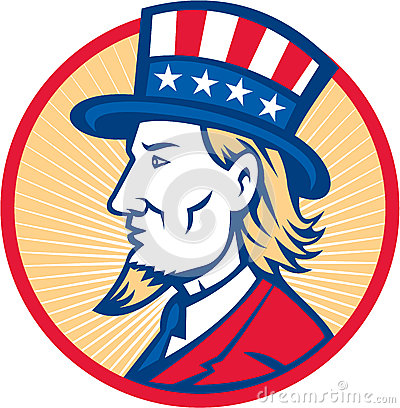 Illustration of Uncle Sam wearing hat with stars and stripes American    Uncle Sam Side View