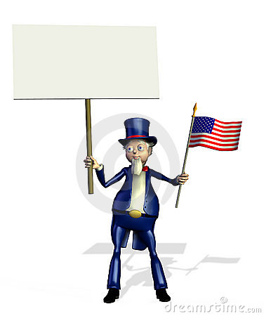 Uncle Sam with Blank Sign - includes clipping path