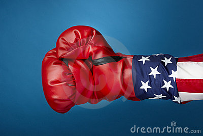 Uncle Sam with boxing gloves