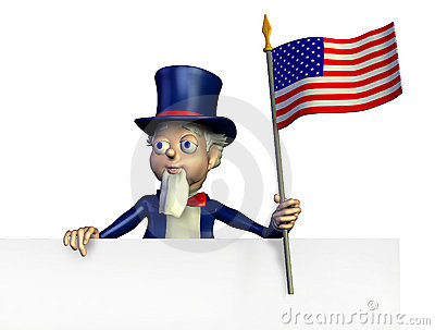 Uncle Sam with Edge of Blank Sign - with clipping path