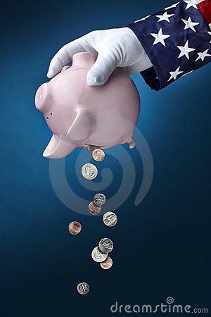 Free Uncle Sam Emptying Piggy Bank Royalty Free Stock Photos - 17778508