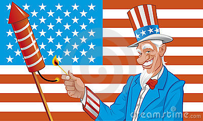 Uncle sam in fourth of july