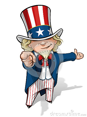 Free Uncle Sam I Want You Presenting Royalty Free Stock Photo - 27657095