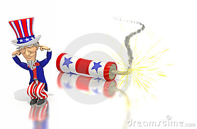 Uncle Sam plugs ears with firecracker
