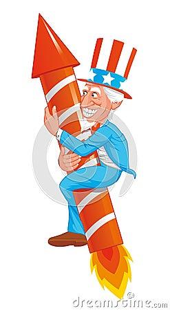 Uncle Sam on rocket