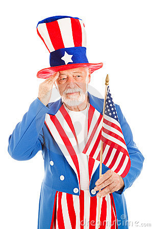 Uncle Sam Salutes America Flag