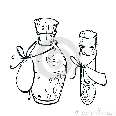 Free Uncolor Flask And Tube-test With Hearts Icon In Hand Drawn Style. Love Elixir Stock Photography - 84101512