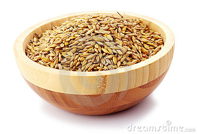 Uncoocked barley in plate isolated