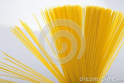 Uncoocked italian spaghetti closeup