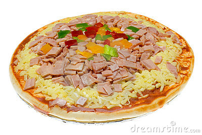 Uncooked Hawaiian pizza
