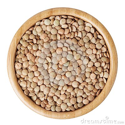 Free Uncooked Lentils In Wooden Bowl Isolated On White Royalty Free Stock Image - 99887846