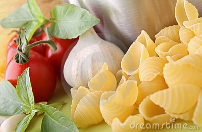 Uncooked pasta and ingredient