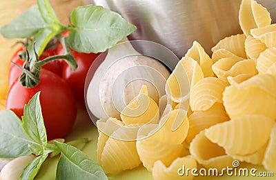 Uncooked pasta and ingredient