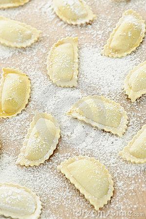 Uncooked ravioli