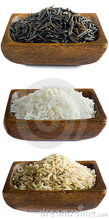 Uncooked rice in bowls