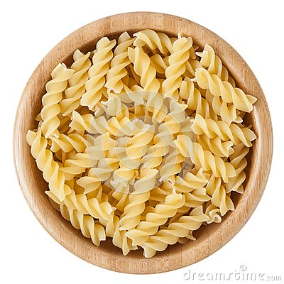 Free Uncooked Rotini Pasta In Wooden Bowl Isolated On White Background Stock Images - 110366434