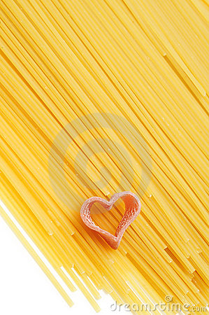 Free Uncooked Spaghetti And Heart Stock Image - 20596161