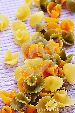 Uncooked vegetables short pasta