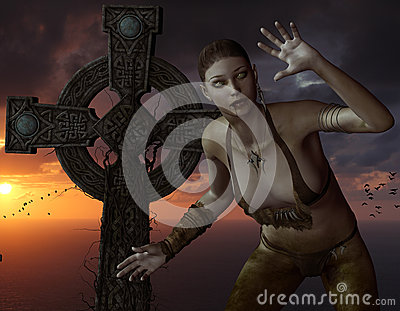 Undead woman in front of a cross on the sea