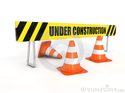 Under construction barrier with cones