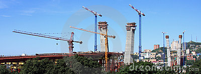 The under construction bridge Editorial Stock Photo