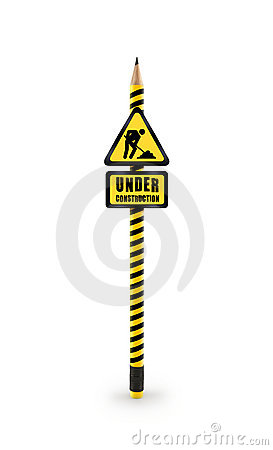 Free Under Construction Sign Pencil With Clipping Path Royalty Free Stock Photos - 15102698