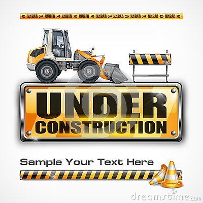 Free Under Construction Sign & Tractor Royalty Free Stock Photography - 30969707
