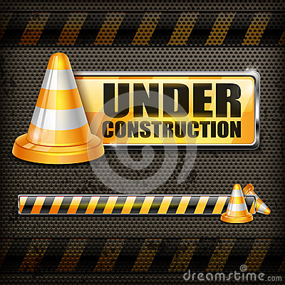 Under construction sign & traffic cones