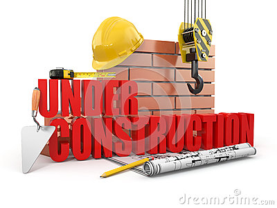 Under construction. Tools, hardhat and wall