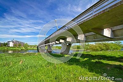 Under new highway bridge