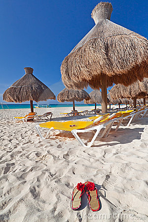 Under parasol at Caribbean Sea
